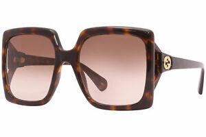 Gucci GG0876S 002 Sunglasses Women's Havana/Brown Gradient Lenses Square 60mm