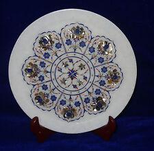"10"" Marble Plate Pauashell Floral Pietra Dura Lapis Semi Precious Handmade Gift"