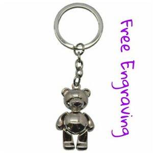 Personalised Teddy Bear Keyring | Engraved Message Tag & Gift Bag Included