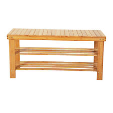 90cm Strip Pattern 3 Tiers Bamboo Stool Shoe Rack Wood Color A2E2