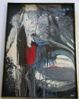 RAUL  PAINTING ABSTRACT EXPRESSIONISM NON OBJECTIVE SPLASH MODERNISM DRIP VNTG