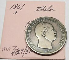 1861-A German States Prussia Silver Thaler from Old Estate (985)