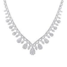 Royal Elegante 20.0TCW Brillante Diamante Redondo 18K Oro Blanco Forma de V