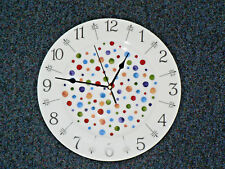 "Spots 11"" large ceramic  wall clock - gift  boxed. Hand sponged spots style"