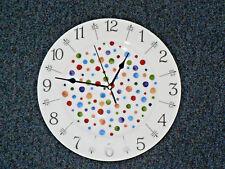 "Spots 11"" large bone china  wall clock - gift  boxed. Hand sponged spots style"