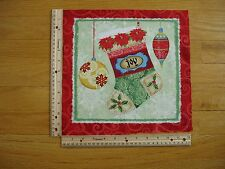 Christmas Stocking Joy Ornaments Holly Cotton Quilt Fabric Block 10