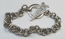 CZ Crystal Silver Charm Fashion Chain Bracelet w/Toggle Lock Lady Girls NEW