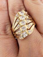 Woman Wide 14k Yellow Gold man made diamond 5 row stackup band Ring Size 8