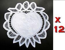 "Lot 12 Handmade 11"" inch Heart Battenburg lace Doilies doilys wedding embroiderd"