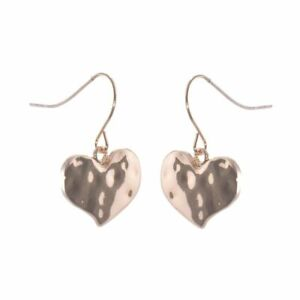 Fashion Jewellery Favourites: Rose Gold Hammered Heart Drop Earrings (M336)