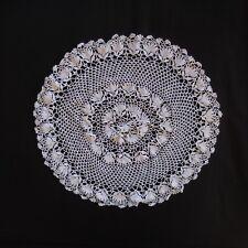 Napperon rond lin fait main au crochet vintage art nouveau Lorraine France