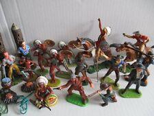 16 x ELASTOLIN 7 cm Figuren Wild West Western Karl May Indianer Cowboys +Zubehör