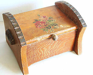 "Primitive Wood Sewing Trinket Box Treasure Chest Rose Applique 7.75x6x9"" FREE SH"