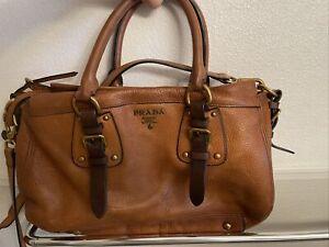 prada milano handbag brown leather Satchel Convertible Buckle Adjustable Strap