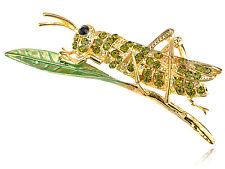 Fashion Golden Green Diamante Rhinestone Leaf Grasshopper Locust Pin Brooch Gift