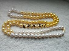 9-10mm natural Australian south seas white gold pearl necklace 38 Inch 14K gold
