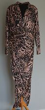 Formal Cocktail party ball gown slimming fit maxi dress in animal print Size 14