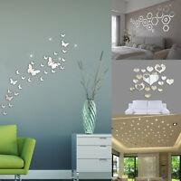 50PCS DIY 3D Acrylic Mirror Wall Sticker Decal Art Mural Home Decor Removable UK
