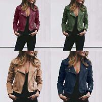 Women Coats Tops Flight Coat Casual Outwear Jacket Up Zip Biker Ladies