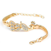 Fashion Women Gold Plated Peacock Rhinestone CZ Bracelet Bangle Charm Jewelry