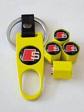 AUDI S LINE YELLOW DUST VALVE CAPS AND YELLOW SPANNER LIMITED ALL MODELS BOXED