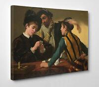 🇮🇹 ♣️♥️ Quadro Caravaggio I Bari Stampa Fine Art su Tela Vernice Pennellate 🎨