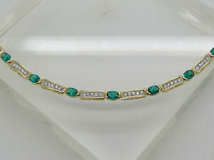 Gold OVER Sterling Silver .925 Oval Green Emerald White Accent Stone Bracelet