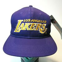 VTG NOS 90's Los Angeles Lakers Script Hat New With Tags Purple Snapback NWT NBA