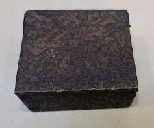 ANTIQUE WOODEN BOX TORTOISESHELL CIGARETTES OAK LEAF & ACORN PATTERN c.1910