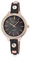 Women's Quartz Watch Black Gold Analogue Metal Leather W-60412118809725