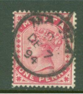 Malta 1885/90 QV SG22 1d Carmine 1894 Used BP51