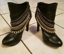 DOLLHOUSE TRENDY BLACK BOOTIES WITH 7 METALLIC CHAINS 6.5 GORGEOUS!!