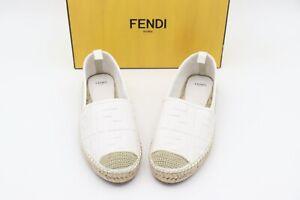 NIB Fendi FF Logo White Leather Flat Espadrilles Slip-On Shoes New 11 41 $710
