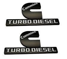 2x Cummins Turbo Diesel emblem 3D Decal Badge for Dodge Nameplate Mopar white BK