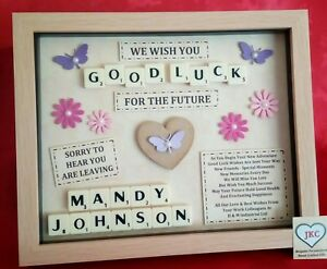 LEAVING GIFT Personalised FRAME PICTURE Work Colleague Emigrating Good Luck