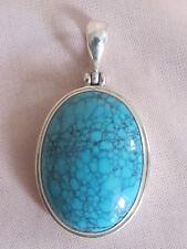 Antiguo colgante joya plata maciza turquesa natural
