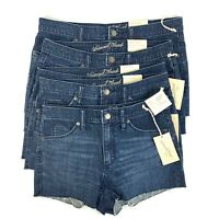 Women's High Rise Shortie Shorts Universal Thread Dark Wash Denim Zipper Fly