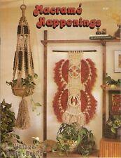 Macrame Happenings Vintage Pattern Instruction Book Plant Hangers Clogs Rack NEW