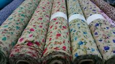 "NEW*Good Quality beige Crepe soft flowy & Beautiful small print fabric 44""wide"