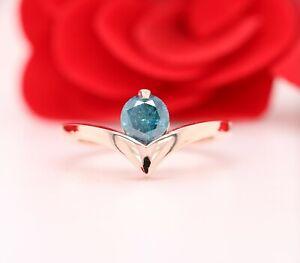 Unique Blue Color Round Brilliant Cut Diamond 14K Rose Gold Ring