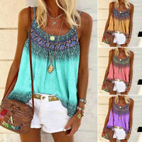 Womens Summer Strappy Tank Shirt Tee Ladies BOHO Vest Blouse Casual Holiday Tops