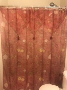 Red Yellow Flowers Shower Curtain Set w/ Vinyl Liner Plastic Hooks Bathroom New