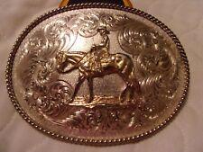 Montana Silversmith large Belt Buckle Cowboy & Horse 4 3/4'' x 3 1/2''  2'' belt