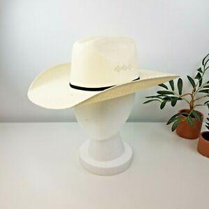 "Twister Paper Straw Cowboy Cream Hat Kids Youth Size M -20"""
