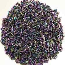 30g Perles de Rocaille Tubes 4mm x 1.8mm en Verre couleur Irisée