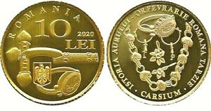 ROMANIA 10 Lei 2020 PROOF Gold Coin Carsium History of Gold Artefacts Rumänien