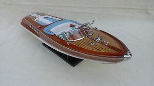 "Quality Riva Aquarama 21"" (L50cm) White-Blue Seat Handmade Boat Free Shipping"