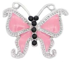 Silver Rhinestone Pink Enamel Butterfly 20mm Snap Charm For Ginger Snaps Jewelry