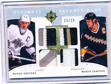 2009-10 ULTIMATE PATCHES WAYNE GRETZKY MARIO LEMIEUX QUAD DUAL PATCH 22/25