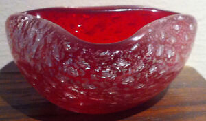 Italian Murano Sommerso Silver Foil Red Bowl